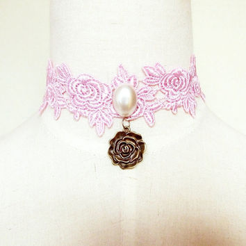 steampunk pink lace choker necklace faux pearl charm rose pendant vintage handmade victorian beaded gothic floral womens jewelry
