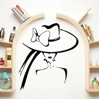 Wall Decal Vinyl Sticker Decals Home Decor Mural Make Up Girl Elegant Woman Fashion Cosmetic Hairdressing Hair Beauty Salon Decor SV6044