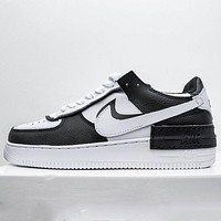 Nike Air Force 1 AF1 black and white colorblock low-top flat shoes
