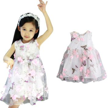 Kids Party and Wedding Dresses Summer Princess Girls Fashion Flower Lace Ball Gown Dress Butterfly Sleeveless Children Clothes