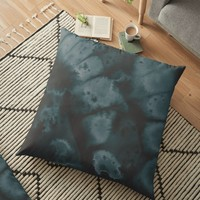 'Muted Emerald Ink' Floor Pillow by DuckyB