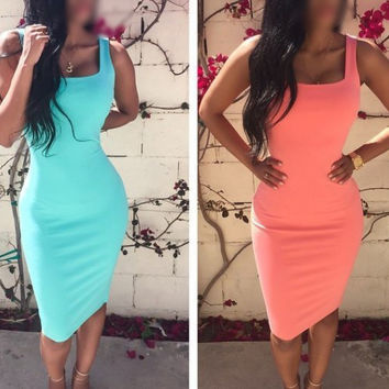 Solid Color Straps Bodycon Sheath Knee-length Dress