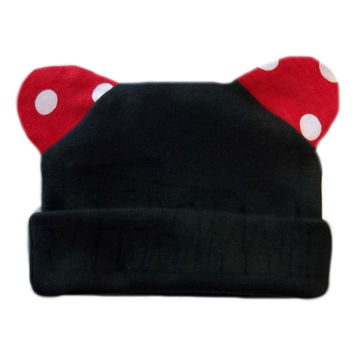 Unisex Baby Black Hat with White Polka Dot Red Ears