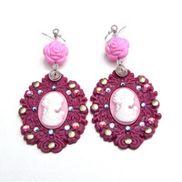 Huge raspberry and pink cameo earrings - big purple and pink cameo earrings - big funky Harajuku fashion earrings - by Sparkle City Jewelry