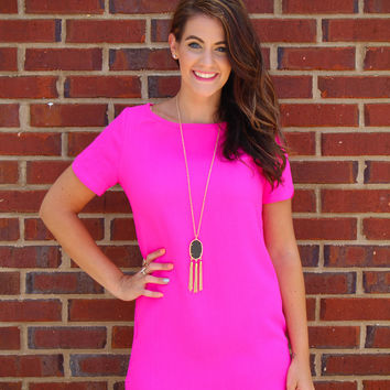 Tickled Pink Shift Dress - Hot Pink