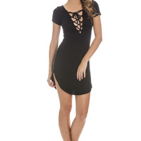 Ally Lace Up Dress - Black