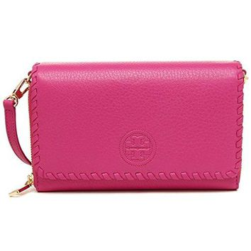 Tory Burch MARION Leather Flat Wallet Crossbody Bag HIBISCUS FLOWER