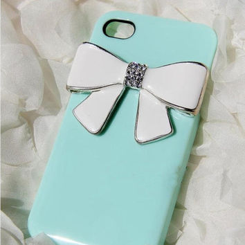 iPhone 4 case cover Tiffany bowtie Swarovski crystals Rhinestone iPhone 5 Case