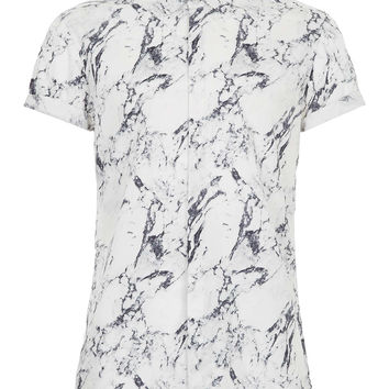 GREY MARBLE PRINT SHIRT - Men's Shirts - Clothing - TOPMAN USA