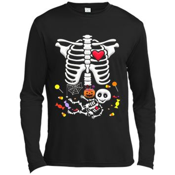 Pregnant Skeleton Candy Halloween  Long Sleeve Moisture Absorbing Shirt