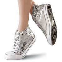 Silver Sequin High-Top Dance Sneaker; Balera