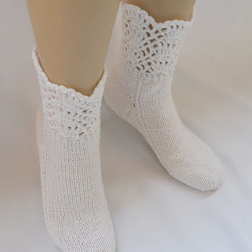 White socks hand made  lace warm lovely