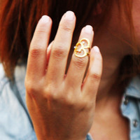 SALE 65% JOINT RINGS :22 carat of  Gold plated brass , joint ring with swarowsky rhinestone fits to everyone, grandbazaar production.