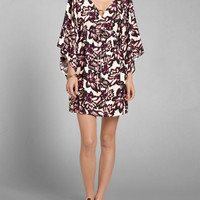 Patterned Lace Up Caftan Dress