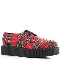 T.U.K. Shoe Low Sole Creeper in Red Tartan