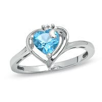 6.0mm Heart-Shaped Blue Topaz and White Sapphire Ring in 10K White Gold