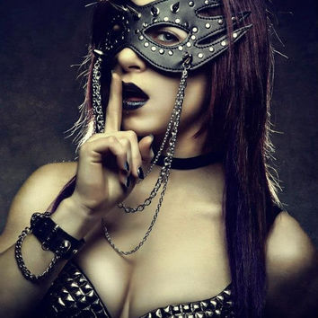 Custom Leather Stud Spiked & Chained Eye Mask from Dressed To Kill Collection 2012