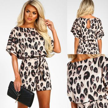 Plus-Size Leopard O-Neck Short Sleeve Wide Leg Pants