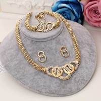 Hesiod Hollow 2017 Crystal Jewelry Set Gold Color Twist Jewelry Set Statement Necklace Set And Earring Circle Finger Ring