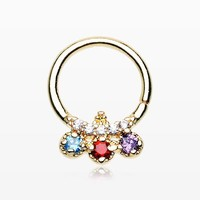 Golden Trilink Multi-Gem Sparkle Septum Twist Loop Ring