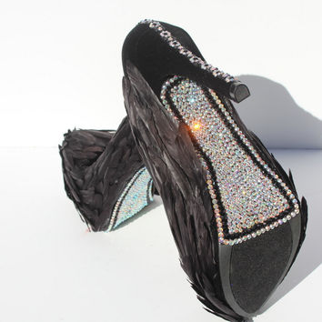 Black Swan Feathered Heels with AB Crystals