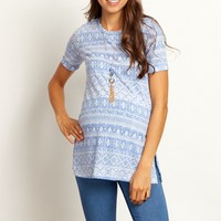 Blue-Tribal-Ribbed-Short-Sleeve-Top