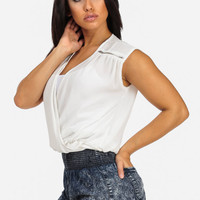 White Overlap Blouse With Zippers