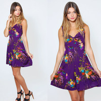 Vintage 70s FLORAL Mini Dress Purple BABYDOLL Sleeveless Mini Sun Dress