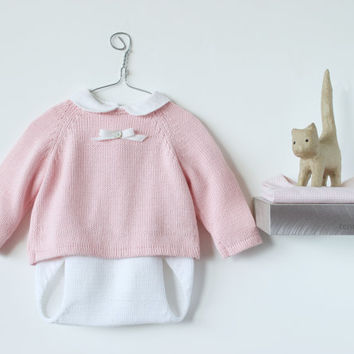 Knitted baby set. Sweater and diaper cover. Pink and white. 100% cotton. READY TO SHIP size 1-3 months.