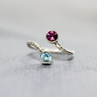 Swiss Blue Topaz and Rhodolite Garnet Ring - Blue Topaz Garnet and Sterling Silver Ring -Double Birthstone Ring