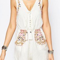 Glamorous Tall | Glamorous Tall Plunge Front Folk Embroidered Playsuit at ASOS