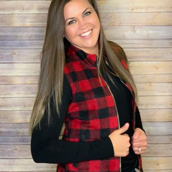 Buffalo Plaid Quilted Vest (SM-3X)