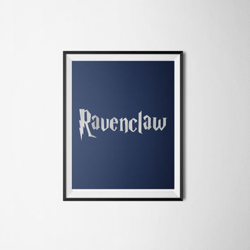 Ravenclaw Silver Foil Wall Art - Harry Potter Poster -Blue and Silver Movie Colors