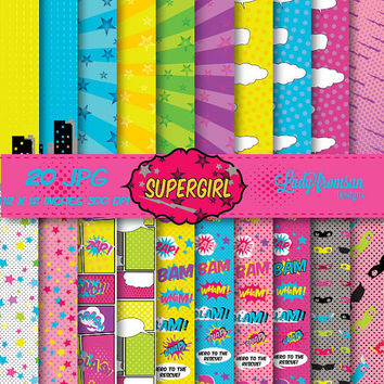 Supergirl Digital Paper Pack Comic Book Pages,Action Words,Comic Sound Effects,Scrapbook Paper and Backgrounds Commercial-Personal Use