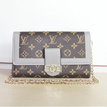 LV Louis Vuitton Women Fashion New Monogram Print Chain Shoulder Bag Handbag Crossbody Bag