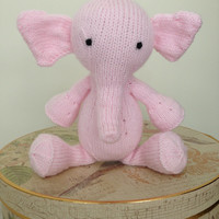 Handmade Knitted Pink Baby Elephant Soft Animal Stuffed Plush Toy