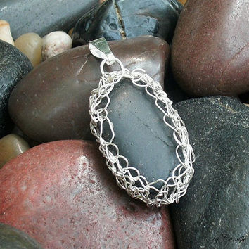 Crocheted Silver Plated Wire over Black Oval Polished River Stone Pendant READY to SHIP