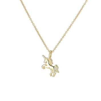 Daisies Pure 925 Sterling Silver Unicorn Pendant Silver Gold Necklace Fashion Jewlery For Women Statement Accessories