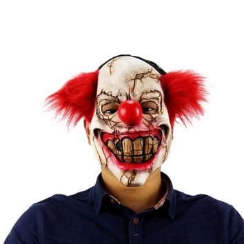 Halloween Mask Scary Clown Latex Full Face Mask Big Mouth Red Hair Nose Cosplay Horror masquerade mask Ghost Party 2017