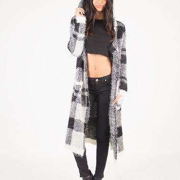 Hooded Checker Furry Soft Cardigan - Black/Ivory /