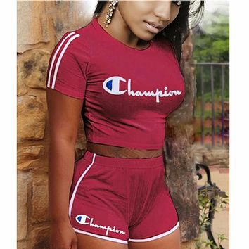 Champion two piece set women tracksuit clothes 2 piece set F0622-1 Burgundy