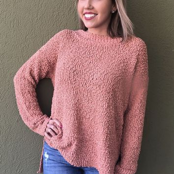 Popping Into Winter Sweater- Clay