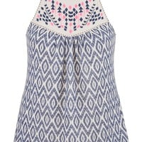 ethnic print plus size tank with embroidery