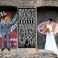 Wedding Subway Sign Black Bus Roll Tram customize your stops and colors Personalized Vintage Style Art Canvas 30X40