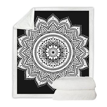 Black Floral Mandala Boho Throw Blanket