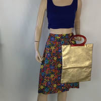 Vintage Gold Clutch or Gold Tote Mod Glam 60s 70s Bag Faux Tortoiseshell Handles Vintage Vegan Purse Lady's Pride Brand