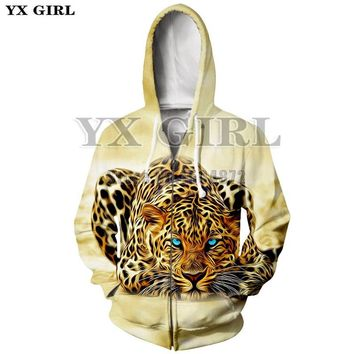 YX Girl New Animal Tracksuit Men/Women 3d Zipper Hoodies Leopard 3d Printed Hooded Sweatshirt Unisex Pullover Zip Up Jacket