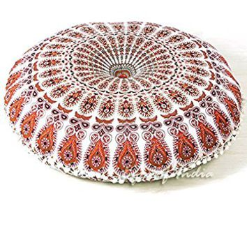 "EYES OF INDIA - 32"" White Mandala Floor Meditation Cushion Pillow Seating Cover Throw Hippie Bohemian boho dog bed Decorative Indian"