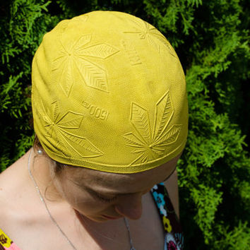 Yellow Swimming Cap / Rare Kyiv 1500 & Embossed Chestnut Retro Bathing Cap / Rare Floral Soviet Vintage Sport Accessory / USSR Beachwear