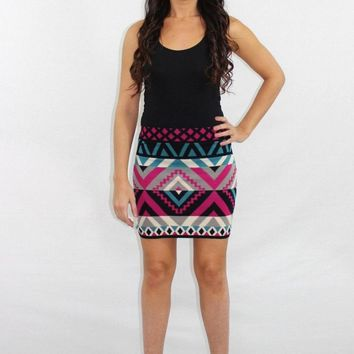 The High Life Aztec Knit Skirt